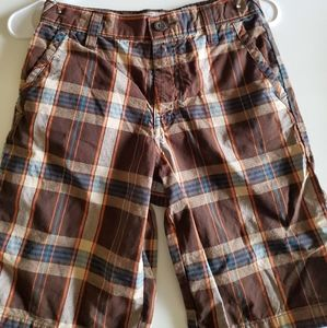 Old Navy Brown and Tan Plaid Shorts